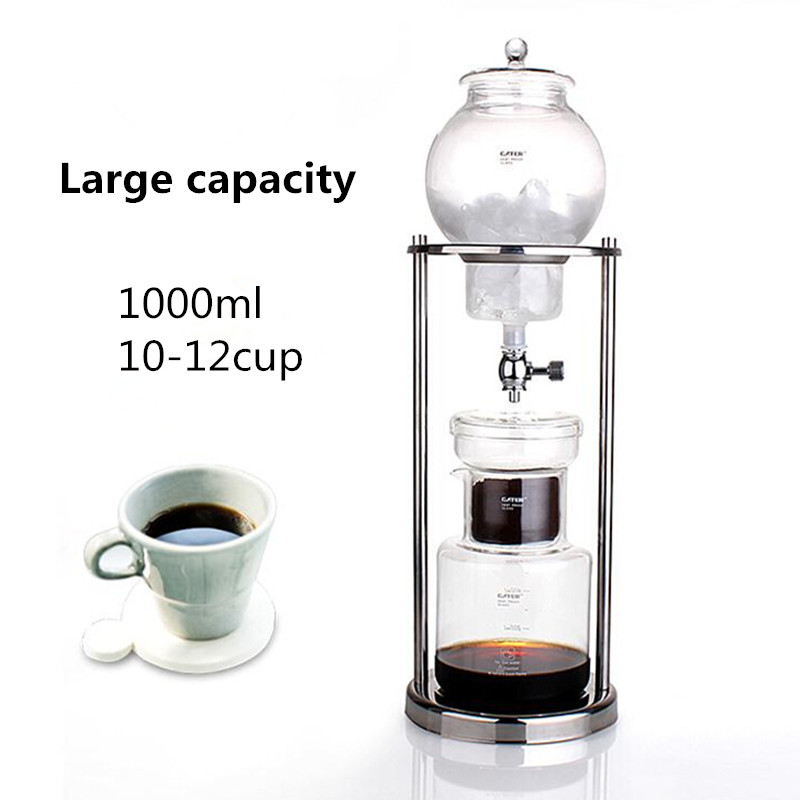 Free shipping new Large capacity 1000ML percolators glass coffee pot / superior filter coffee maker ice drip coffee filters tool