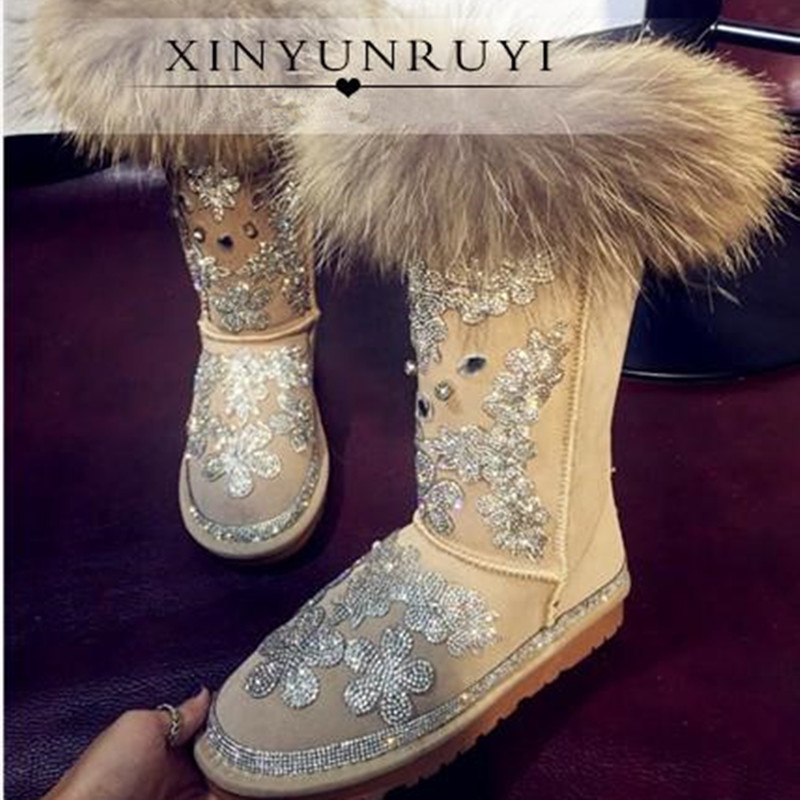 60462d65c06 2016 New Women Winter Snow Boots Mid Calf Vintage Handmade Crystal Bling  Wool Leather Fox Fur One Slip On Flat Shoes Platform-in Snow Boots from  Shoes on ...