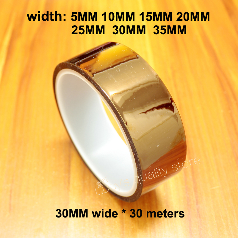 30M Gold Finger Brown High Temperature Tape Polyimide High Temperature Industrial Tape Wide Insulation Tape For 3D Printers