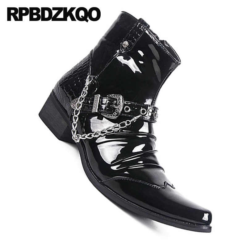 170a4aeac44 ... Zipper Fashion Waterproof Ankle Punk Metalic Booties Black Shoes  Pointed Toe Rock Chunky Snakeskin Mens Patent