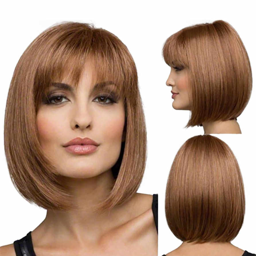 Detail Feedback Questions about Bob Style Wig Women s Short Straight Full  Hair Wigs Cosplay Party Neat Bangs drop shipping 0907 on Aliexpress.com  6d776aa00