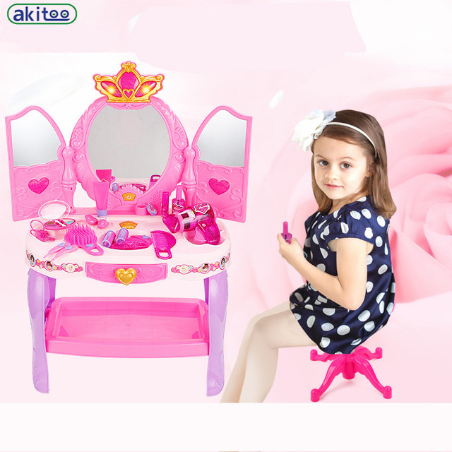 New Arrival Childrenu0027s Dresser Simulation Play Music Little Girl Princess  Suit Every Family Toy Dressing Table