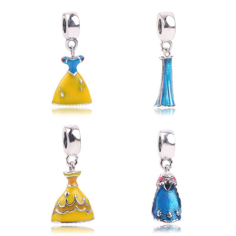 New 925 Sterling Silver Snow White's Dress Charm Fit Original Pandora Bracelet Necklace For Women Authentic Jewelry Gift Pretty And Colorful