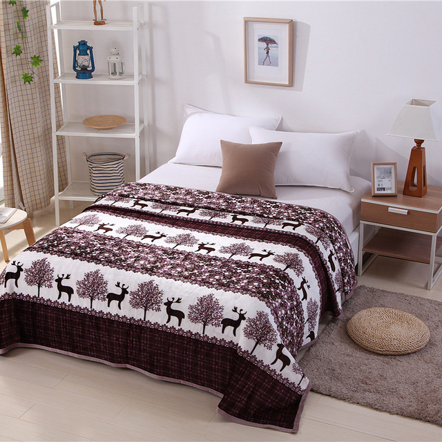 Home Textiles,forest Deer Pattern Best Fabric Coral Fleece Blankets For Bed  Bedclothes Can Be