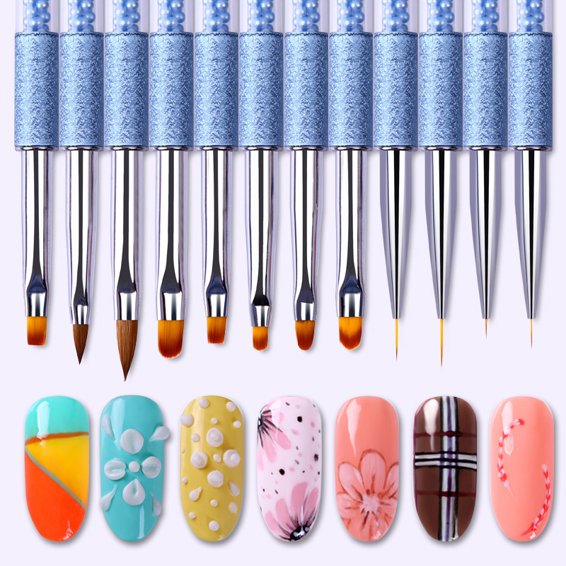 BORN PRETTY 1 Pc Akrylfärg Nail Pen UV Gel Teckning Pensel Liner Blå Rhinestone Pearl Handle Manicure Nail Art Tool Set