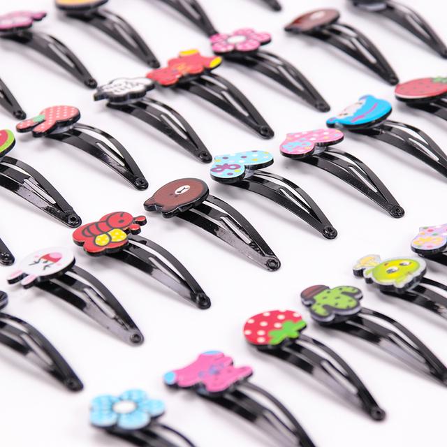 10PCS Cute Cartoon Black Acrylic Hair Clips Girls Hairpins BB Clips Barrettes Headbands for Womens Hairgrips Hair Accessories