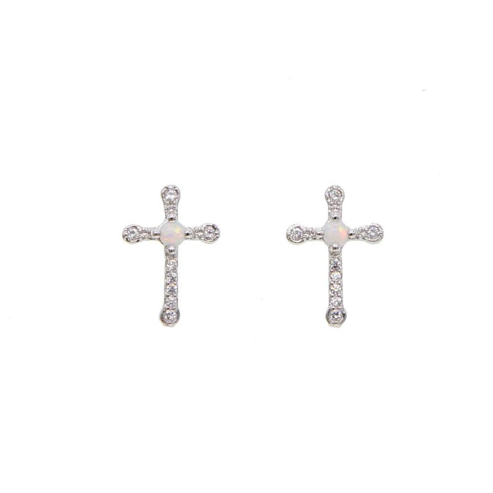 2019 nowy kobiety moda śliczne symulowane Opal cz koraliki stadniny kolczyki piękny krzyż koreański Pendientes elegancka biżuteria