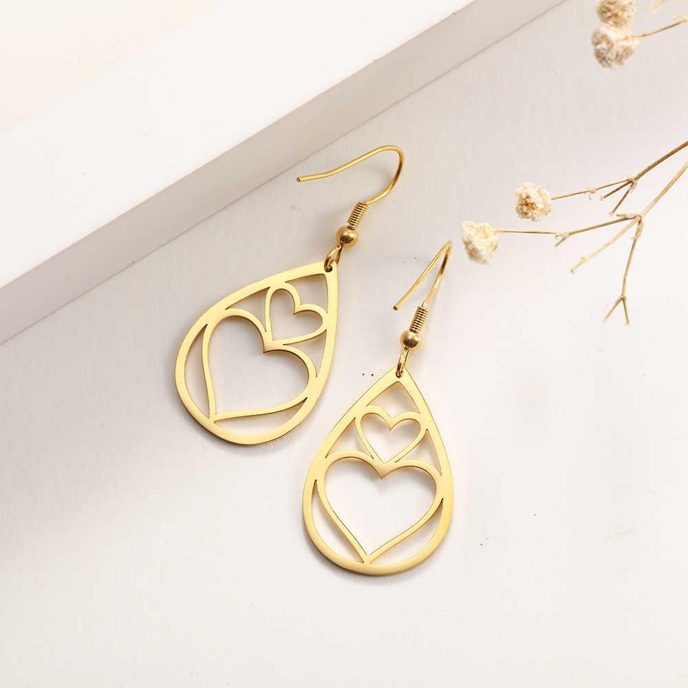 SKYRIM Vintage Edelstahl Koreanische Ohrringe für Frauen Mädchen Wasser Tropfen Form Hohl Herz Stern Ohrring 2020 Schmuck Geschenk