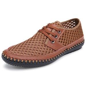 Image 4 - Wiosna lato 2020 oddychające buty z siatką mężczyźni dorywczo gorąca sprzedaż zasznurować Zapatos Hombre lekkie płaskie Plus Size buty 47s 48s