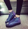Chaussures Femmes 2017 Primavera Nueva Moda de Fondo Grueso Zapatos de Lona del Top del Alto Pisos Causales Punta Redonda Plataforma Zapatos del Tablero 35-40
