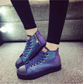 Chaussures Femmes 2017 Primavera de Moda de Nova Sapatas de Lona Fundo Grosso Placa de Alta Top Plataforma Dedo Do Pé Redondo Apartamentos Causais Sapatos 35-40