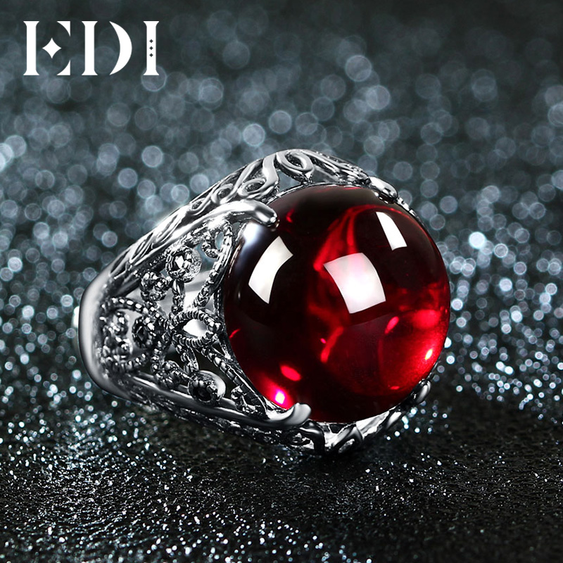 EDI Luxury Vintage 100% 925 Silver Simulated Garnet Gemstone Rings Round Resizeble Ring To Women Power Queen Noble Jewelry Ring