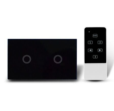 US Standard Touch Remote Control Light Switch,2Gang1Way Black Pearl Crystal Glass Wall Switch, With LED Indicator,MG-US01RC smart home us black 1 gang touch switch screen wireless remote control wall light touch switch control with crystal glass panel