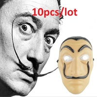 10pcs Dali Plastic Mask La Casa De Papel Card House cosplay Mask Masquerade Halloween party Theme Clothing prop