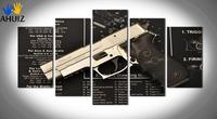 5 Panel New Modern Gun Painting Pictures Pistol Painting Canvas Art Wall Picture For Living Room Prints Unframed MS0043