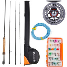 Sougayilang 2.7m Fly Fishing Rod and 5/6 Fly Reel Combo 4 Sections Carbon Fishing Pole Fish Line Bag Lure Backing Line Full Set(China)