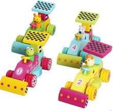 New wooden toy Animal Racing Car Blocks Baby toy Free shipping