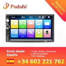 """Podofo 2 Din Auto Radio 7 """"Bluetooth Stereo lettore Multimediale Autoradio MP3 MP5 Touch Screen Auto Radio di Sostegno Videocamera vista posteriore"""