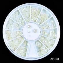 Mixed Beige Half Pearl Flat Glitter Rhinestone Beads 1Wheel Phone Manicure Nail Art Decoration 3D Tips Tools Jewelry ZP-28