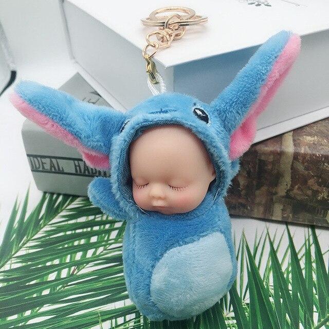 Moda Jóias Bebê Dormindo Boneca Flor Chaveiro Chaveiro Carro Chaveiro Bola de Pêlo de Coelho Pompom Fofo porte clef Saco Chave anel