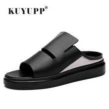 KUYUPP Size 36-43 Cow Leather Women and Men Sandals Comfortable Flip Flops Summer Slippers For Men Shoes Chinelo Masculino LX69