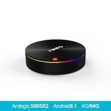T95Q 4 GB 64 GO Android 8,1 LPDDR4 Amlogic S905X2 ТВ коробка 4 ядра 2,4G и 5 ГГц двойной wifi BT4.1 1000 м H.265 4 K pk x96max
