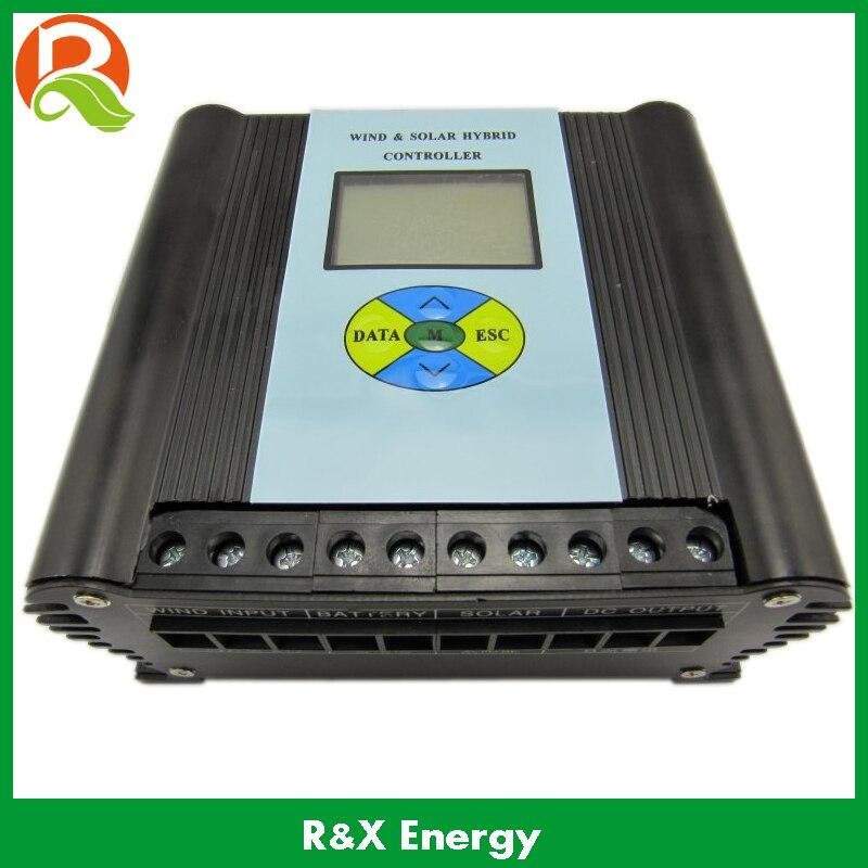 PWM 600 w vent/solaire hybride contrôleur 12 v/24 v contrôleur de charge avec écran LCD. Utilisé pour vent et système d'alimentation solaire.