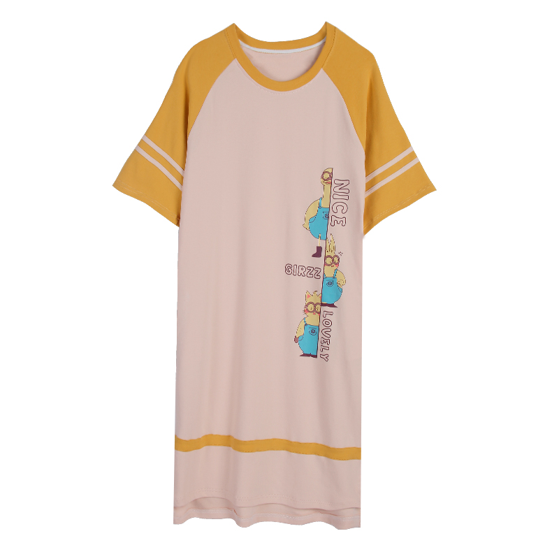 2019 Spring Summer Soft Cotton Night Dress Women Short-sleeved   Nightgown   Cute Cartoon Nighties Loose   Sleepshirts   Sleepwear