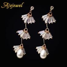Ajojewel 5 Colors Crystal Tassel Earrings For Women Water Drop Simulated Pearl Earing Dropshipping