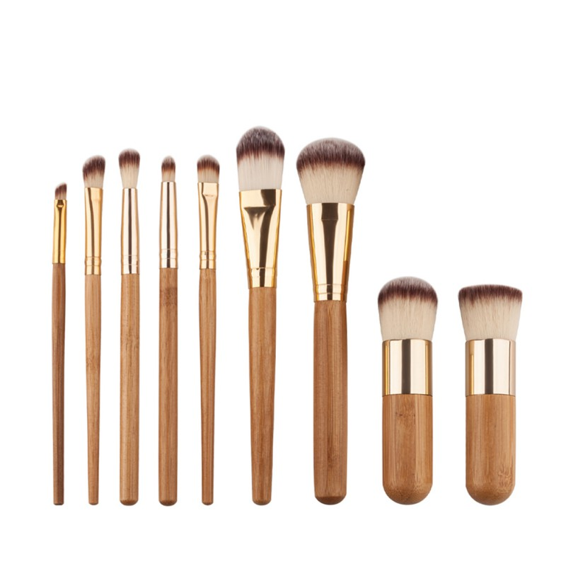 Professional Make Up Foundation Powder Blush Cosmetic Eye Shadow Concealer Brushes Wood Handle Soft Brush 9PCS professional bullet style cosmetic make up foundation soft brush golden white