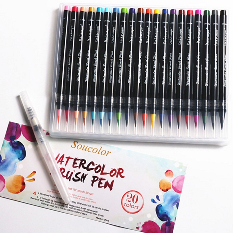20 Colors Watercolor Marker Pen Soft Brush Calligraphy Sketch Drawing Painting touchnew 60 colors artist dual head sketch markers for manga marker school drawing marker pen design supplies 5type