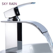 все цены на SKY RAIN Luxury Design Kitchen Sink Mixer Brass Waterfall Tap Chrome Plated Thermostatic Faucet Basin Faucet онлайн