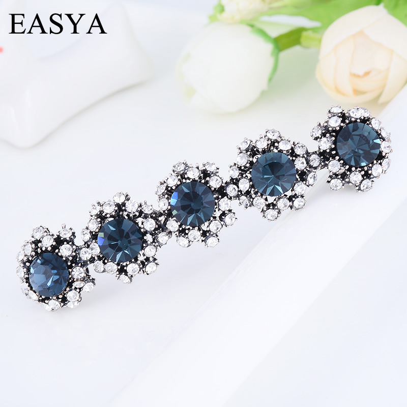 EASYA Retro Metal Barrettes Hairpin Clips For Women Girls Fashion Big Rhinestone Crystal Sunflower Hair Ornaments Hairwear