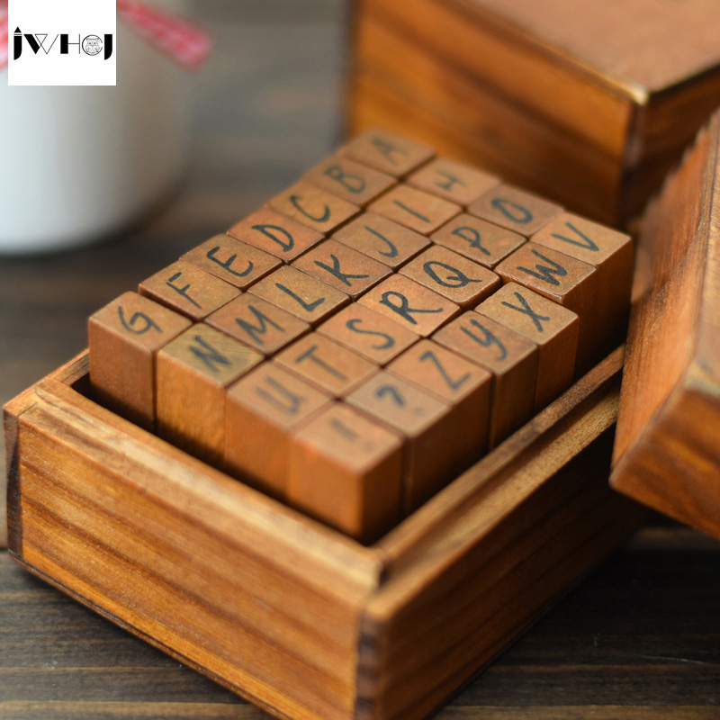 цена на JWHCJ 28 pcs/set English alphabet wooden box rubber stamp for Kids DIY Handmade Scrapbook Photo Album Stamps Arts,Crafts gifts
