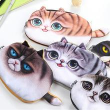2019 1PC Pencil Storage Case cat flannel home office Supplies Stationery Gift Estuches cartoon Cute Box Bag