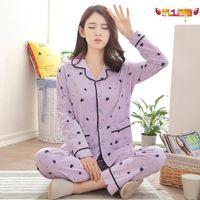 Brand Pajamas Cotton Purple Cute Monkey Sleepwear Casual Long Sleeve Nightgown O neck Women Pajama Set Bottom Shirts +Long Pants