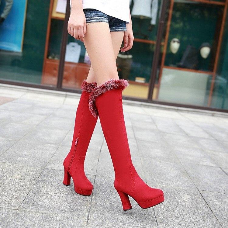 Invierno Mujer Caliente Nieve 34 X15 Rodilla Gruesa Plataforma Botas Largo Tamaño 189 Negro 43 rojo Grande 2016 Suela Ow7Pqx54S