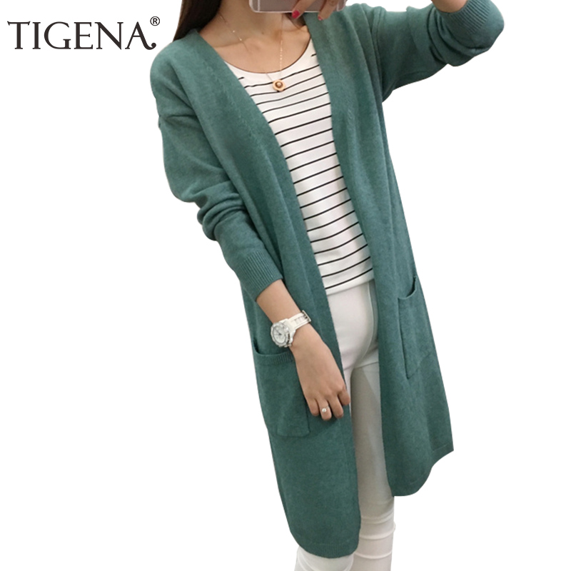Long Sleeve Knitted Cardigan Women Sweater 2017 New Casual Autumn Winter Black/Green/Pink/Blue Pocket Tricot Cardigan Female