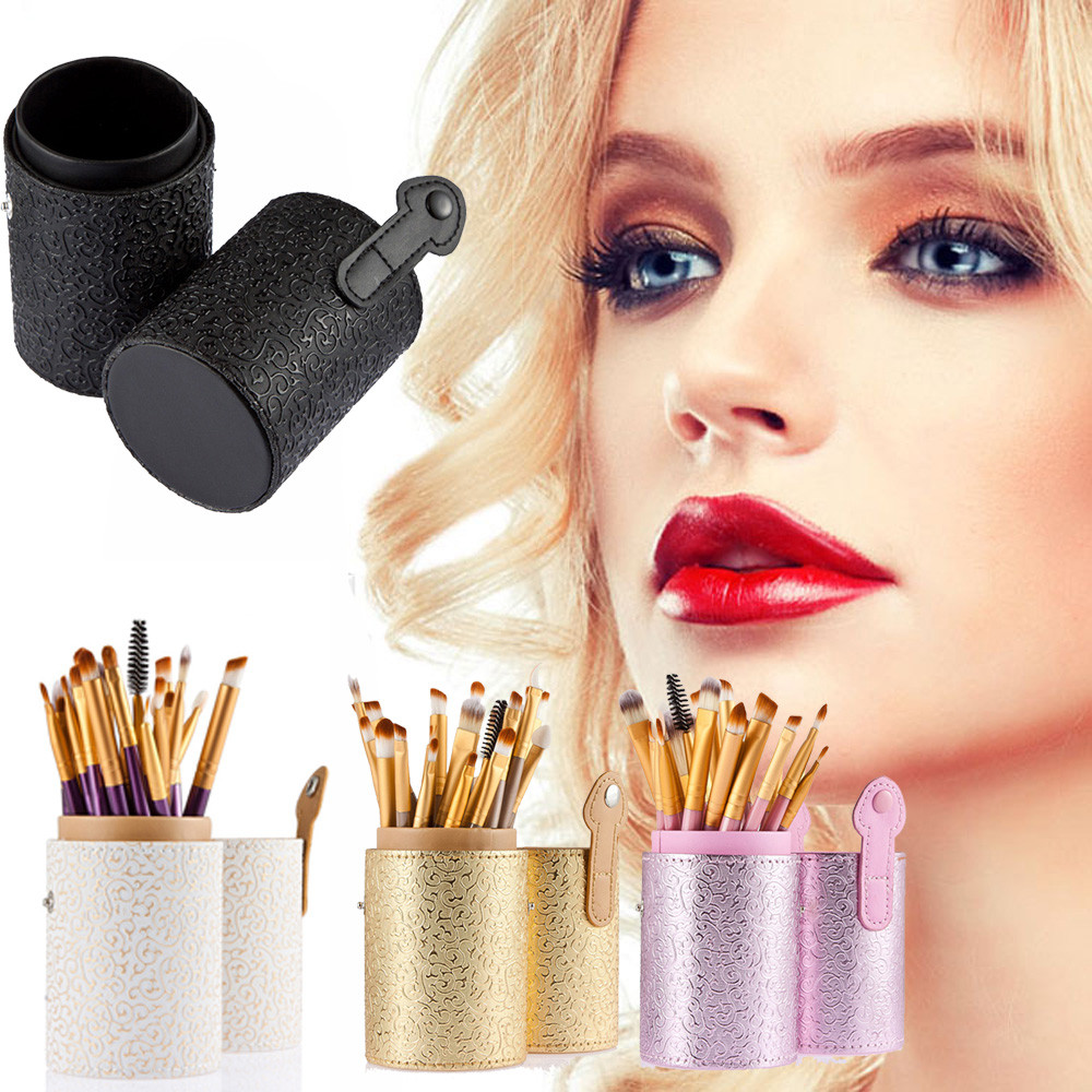 2017 new high quality 1pc Powder makeup tool Cosmetic Case Portable Storage Makeup Bags Organizer Brush Holder Cup