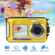 HD268 Waterproof Digital Camera 2.7 inch TFT Double Screen Camera 24MP MAX 1080P Full HD Underwater