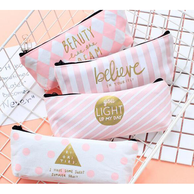 R41 1X Pink Princess Pastel Stripe Dots Grids Canvas Pen Pencil Bag Storage School Office Supply Stationery Makeup Storage Pouch