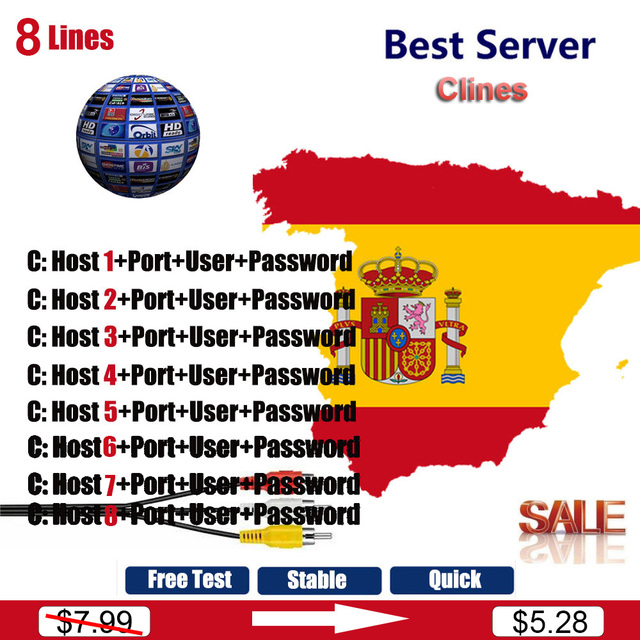 1 year 8 Lines Spain Europe CCCAM Clines For V7 HD V8 Nova DVB-S2 Satellite Receiver Full 1080P Decoder support powervu