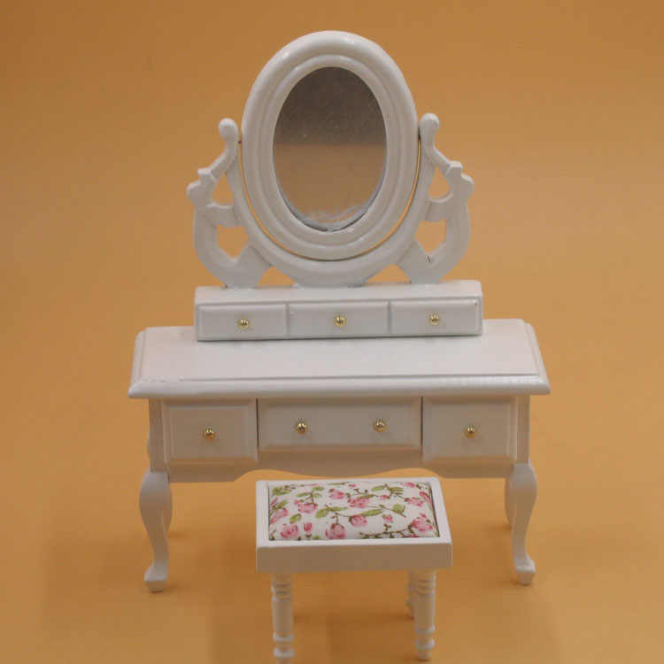 A02-X010 children baby gift Toy 1:12 Dollhouse mini Furniture Miniature rement white color Dressing table 2pcs/set