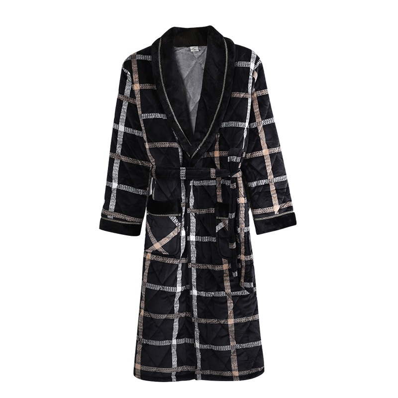 New Men Winter 3 Layers Coral Feece Quilted Robe Plaid Long Sleeve Kimono Bathrobe Gown Casual Home Clothes Male SPA Sleep Wear