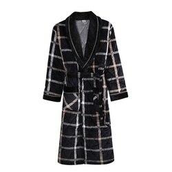 Nieuwe Mannen Winter 3 Lagen Coral Feece Gewatteerde Gewaad Plaid Lange Mouw Kimono Badjas Gown Casual Home Kleding Mannelijke Spa slaap Slijtage