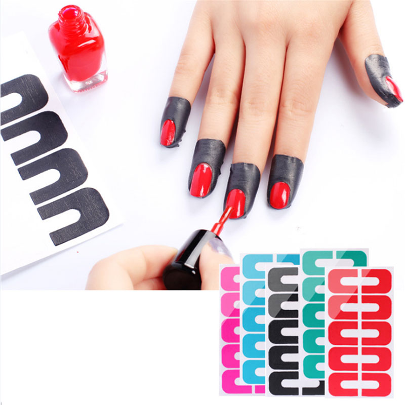 Nail Art Using Painters Tape: 20 Cards Peel Off Tape Protector Tips Tape Sticker For
