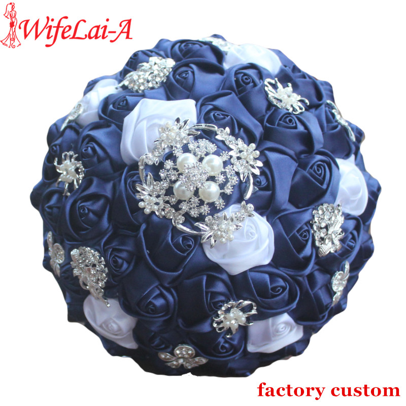 WifeLai-A Diamond Navy Blue Bridal Brooch Wedding Bouquets De Noiva De Mariage Holding Satin Bouquets On Sale W293