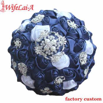 WifeLai-A Diamond Navy Blue Bridal Brooch Wedding Bouquets De Noiva de mariage Holding Satin Bouquets On Sale W293 - DISCOUNT ITEM  50% OFF All Category