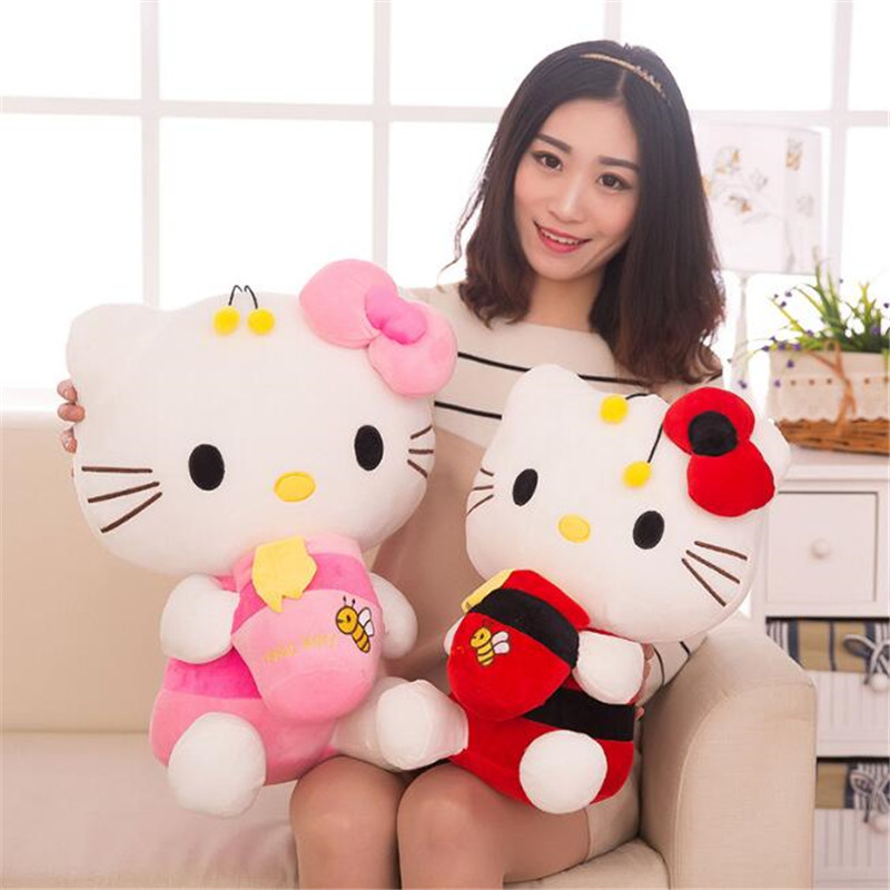 CXZYKING 30CM Kawaii Hello Kitty Plush Toys KT Cat Doll Stuffed Toys Honey Pot Baby Doll Toy For the Girl Gifts For The New Year cxzyking new kt cat hello kitty stuff plush 28cm toys kawaii hello kitty doll peluche pillow gifts for kids baby girl gifts