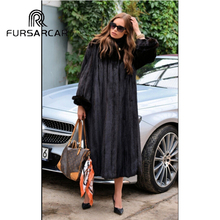 FURSARCAR 2018 Winter Real Mink Fur Coat Women Whole Skin Genuine Female With Turn-down Collar 120 CM Length